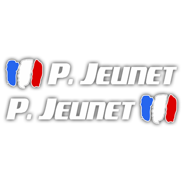 Car & Motorbike Stickers: 2 Flags France + Name sport white