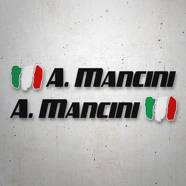 Car & Motorbike Stickers: 2X Flags Italy + Name sport black