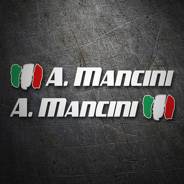 Car & Motorbike Stickers: 2X Flags Italy + Name sport white