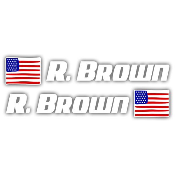Car & Motorbike Stickers: 2 USA Flags + white sport name