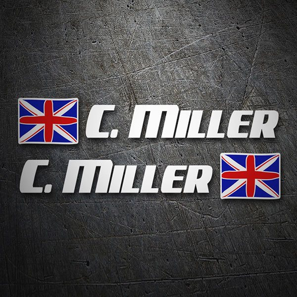 Car & Motorbike Stickers: 2X United Kingdom Flags + white sport name