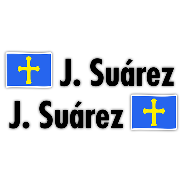 Car & Motorbike Stickers: 2X Flags Asturias + Name in black
