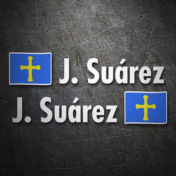 Car & Motorbike Stickers: 2 Flags Asturias + Name in white