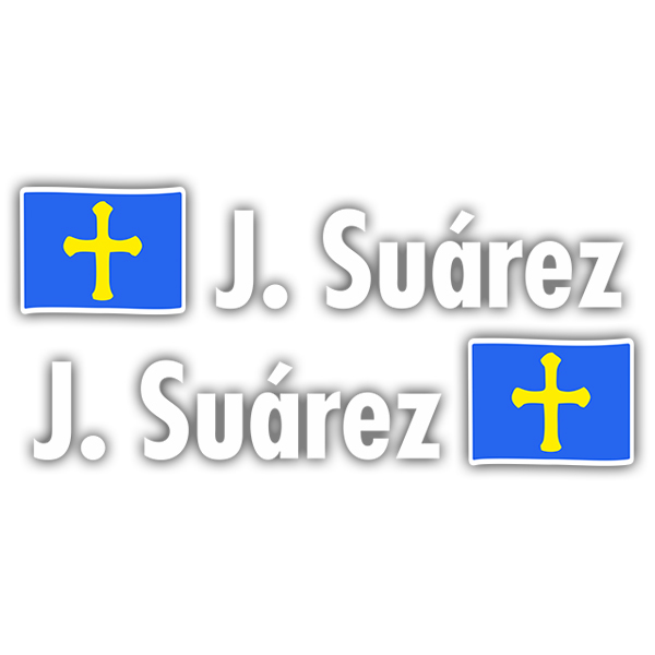 Car & Motorbike Stickers: 2X Flags Asturias + Name in white