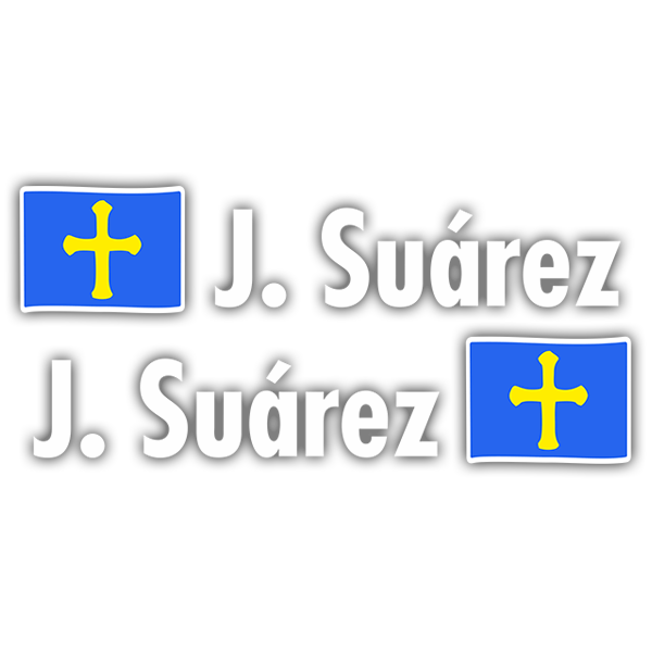 Car & Motorbike Stickers: 2X Flags Asturias + Name in white 0