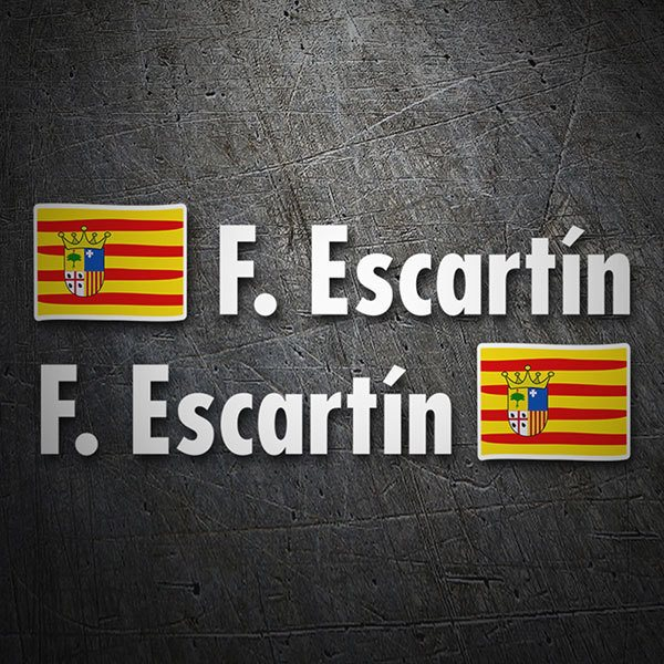Car & Motorbike Stickers: 2 Flags Aragon + Name in white