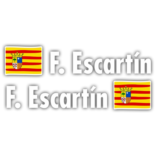 Car & Motorbike Stickers: 2X Flags Aragon + Name in white