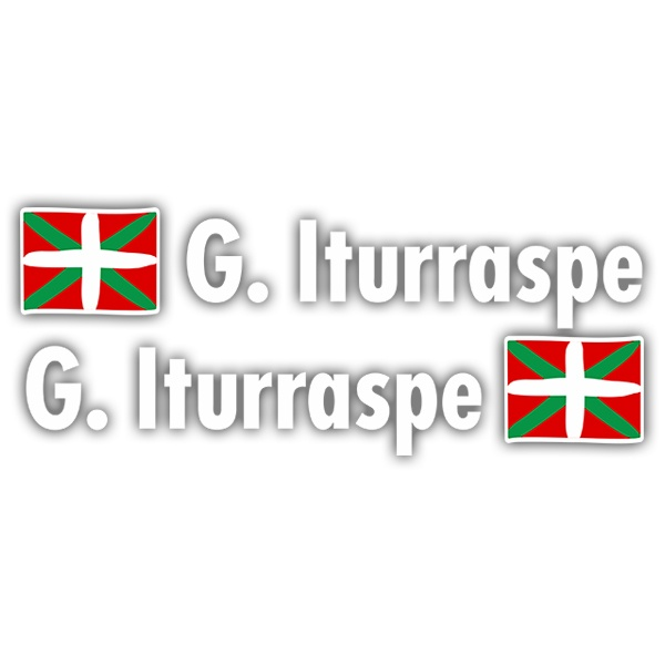 Car & Motorbike Stickers: 2X Flags Basque country + Name sport white
