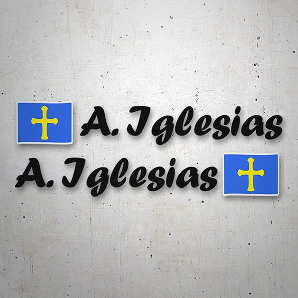 Car & Motorbike Stickers: 2 Flags Asturias + Name calligraphic black