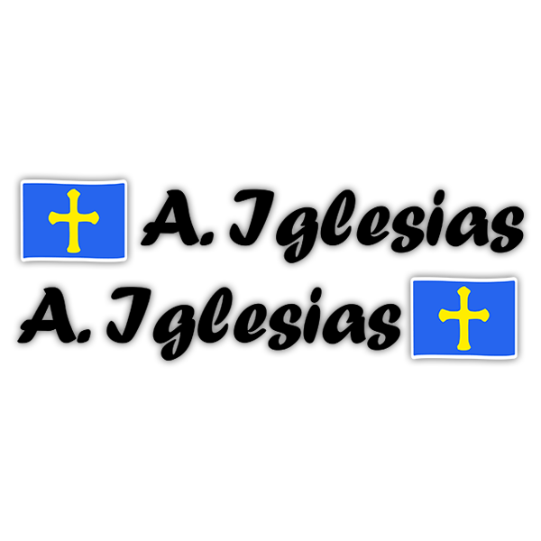 Car & Motorbike Stickers: 2 Flags Asturias + Name calligraphic black 0