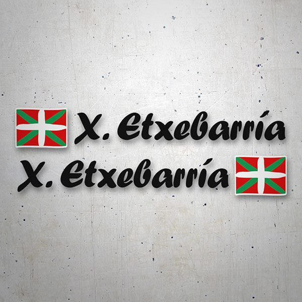 Car & Motorbike Stickers: 2x Flags Basque country + Name calligraphic black