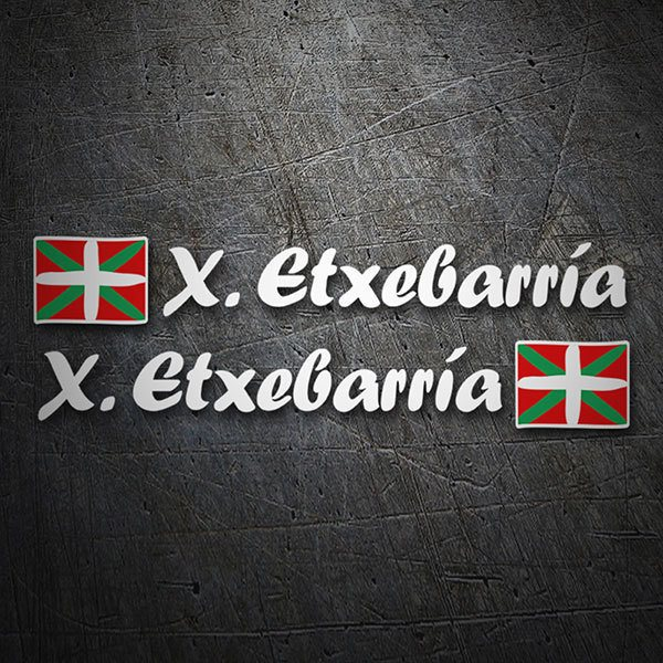 Car & Motorbike Stickers: 2 Flags Basque country + Name calligraphic white