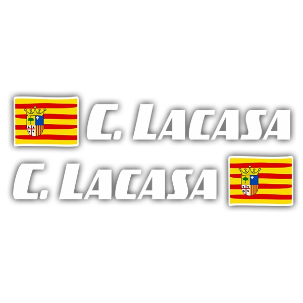 Car & Motorbike Stickers: 2 Flags Aragon + Name sport white