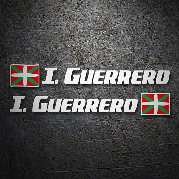 Car & Motorbike Stickers: 2 Flags Basque Country + Name sport white