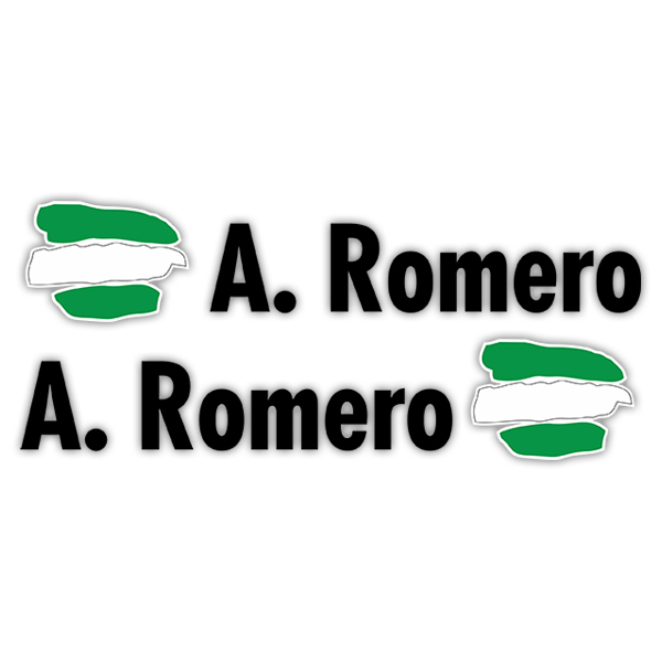Car & Motorbike Stickers: 2X Flags Andalusia + Name in black