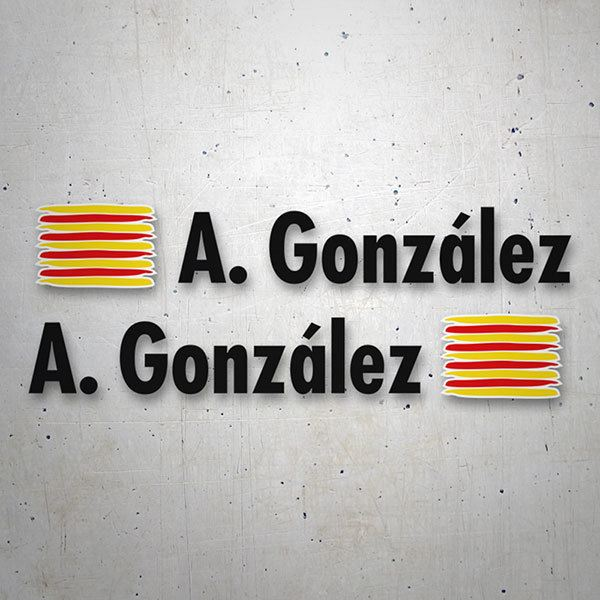 Car & Motorbike Stickers: 2 Flags Catalonia + Name in black