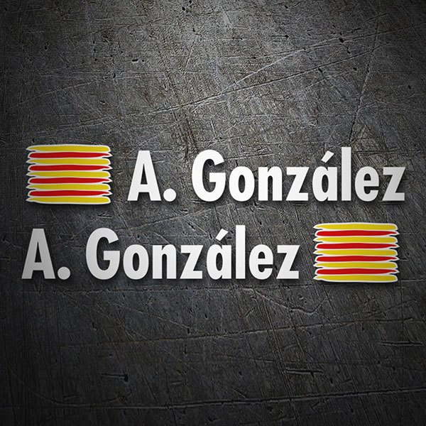 Car & Motorbike Stickers: 2 Flags Catalonia + Name in white