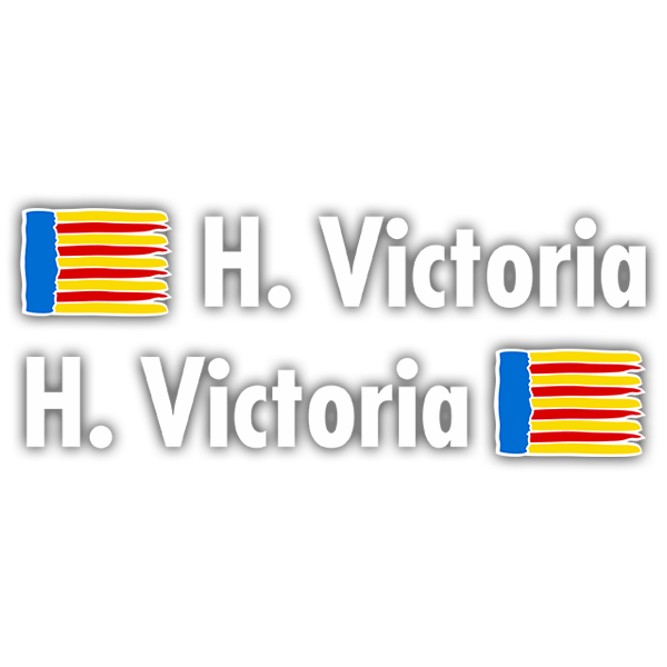 Car & Motorbike Stickers: 2 Flags Valencia + Name in white