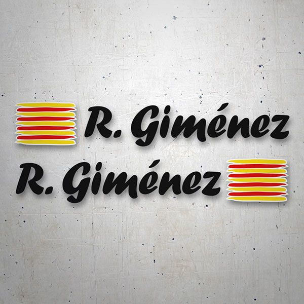 Car & Motorbike Stickers: 2 Flags Catalonia + Name calligraphic black