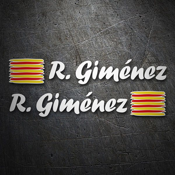 Car & Motorbike Stickers: 2 Flags Catalonia + Name calligraphic white