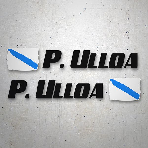 Car & Motorbike Stickers: 2 Flags Galicia + Name sport black