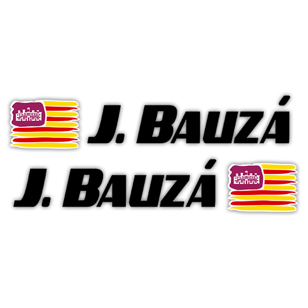 Car & Motorbike Stickers: 2X Flags Balearic Islands + Name sport black
