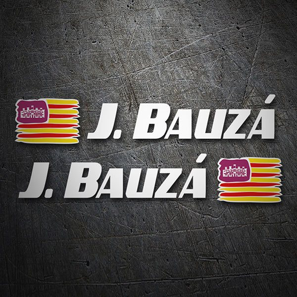 Car & Motorbike Stickers: 2 Flags Balearic Islands + Name sport white