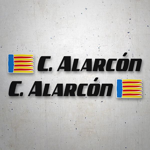 Car & Motorbike Stickers: 2 Flags Valencia + Name sport black