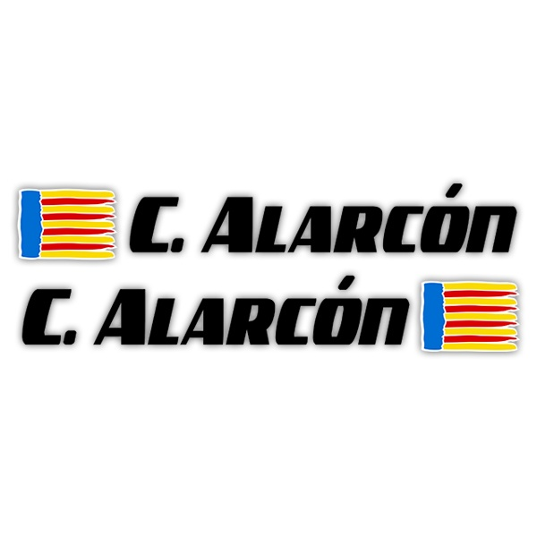 Car & Motorbike Stickers: 2X Flags Valencia + Name sport black