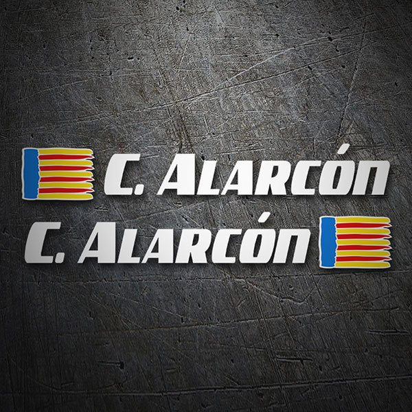 Car & Motorbike Stickers: 2 Flags Valencia + Name sport white