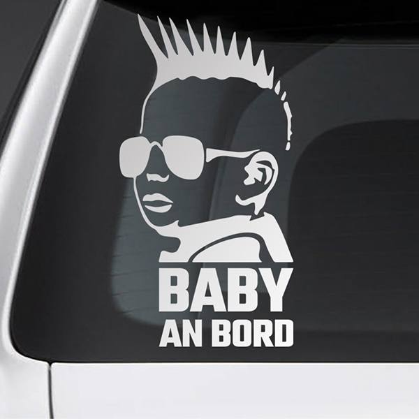 Car & Motorbike Stickers: Baby on board punk - German