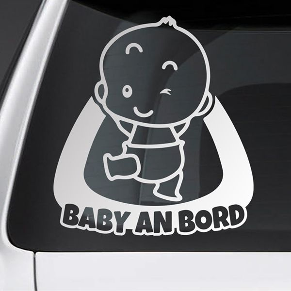 Car & Motorbike Stickers: Baby on board naughty - German