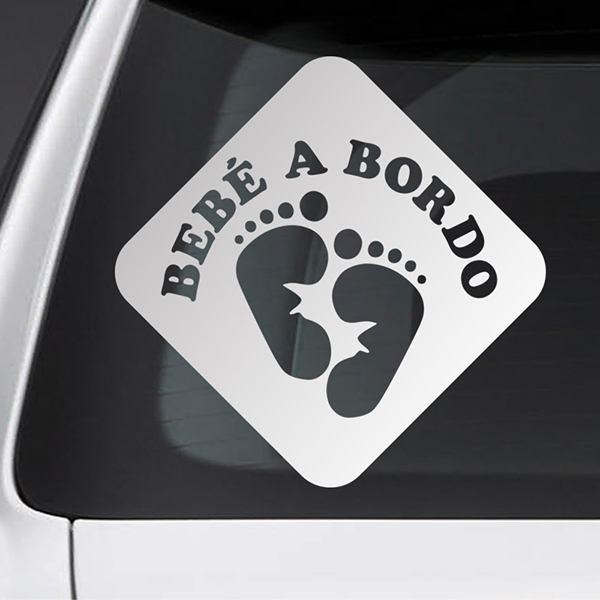 Car & Motorbike Stickers: Baby on board footprints - Spanish