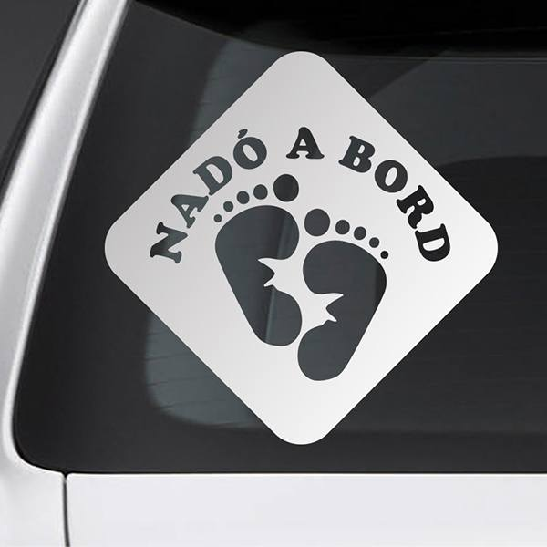 Car & Motorbike Stickers: Baby on board footprints - catalan