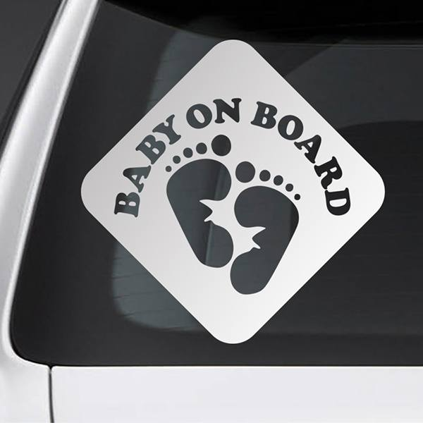 Car & Motorbike Stickers: Baby on board footprints