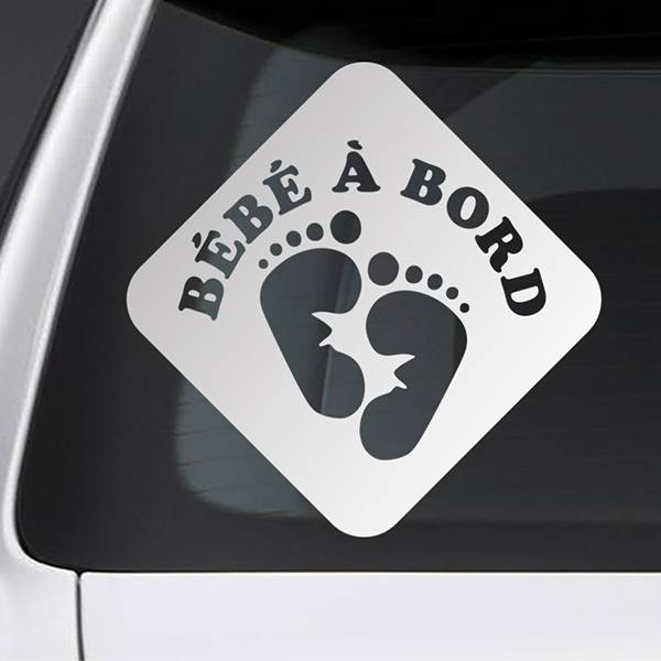 Car & Motorbike Stickers: Baby on board footprints - French