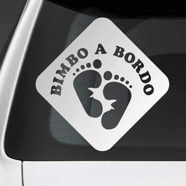 Car & Motorbike Stickers: Baby on board footprints - Italian