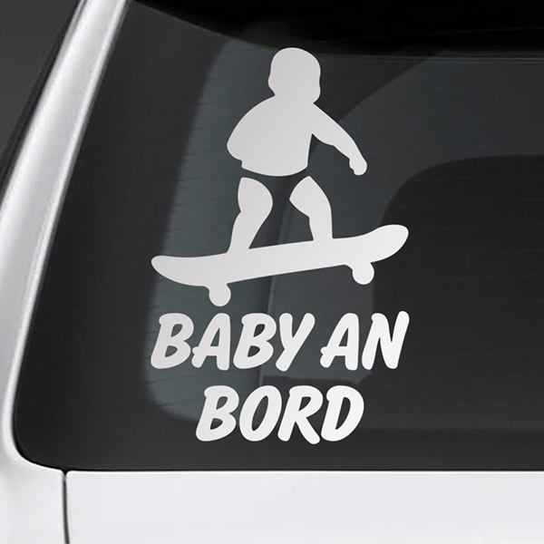 Car & Motorbike Stickers: Baby on board skate - German