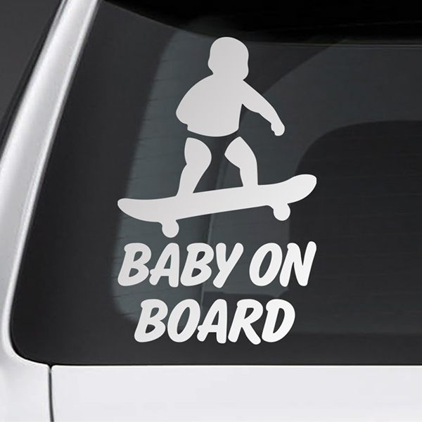 Car & Motorbike Stickers: Baby on board skate
