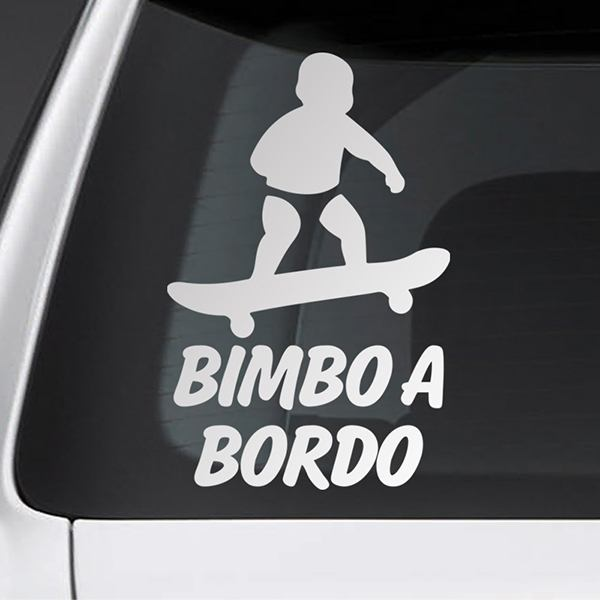 Car & Motorbike Stickers: Baby on board skate - Italian