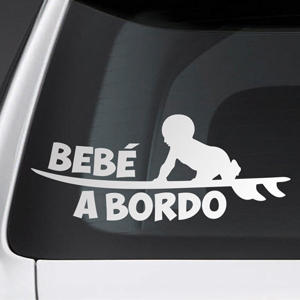 Car & Motorbike Stickers: Baby on board surf - Spanish