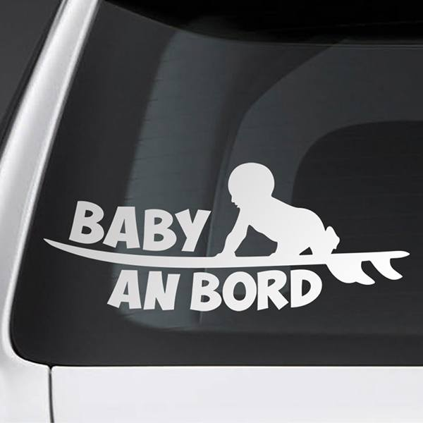 Car & Motorbike Stickers: Baby on board surf - German