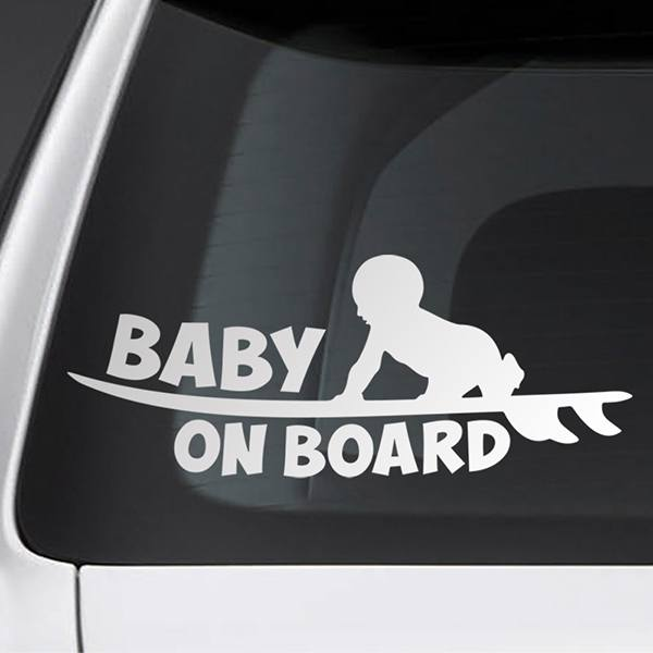 Car & Motorbike Stickers: Baby on board surf