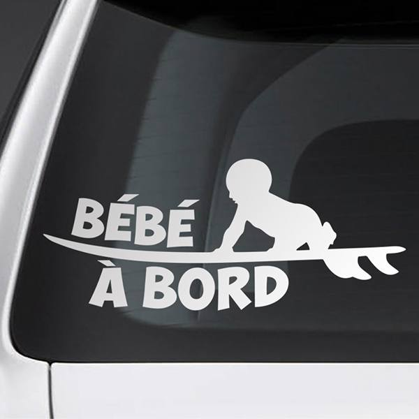 Car & Motorbike Stickers: Baby on board surf - French