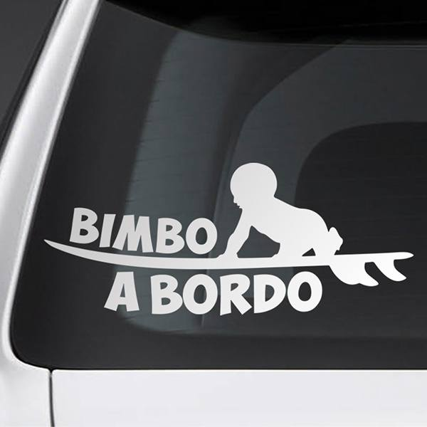 Car & Motorbike Stickers: Baby on board surf - Italian
