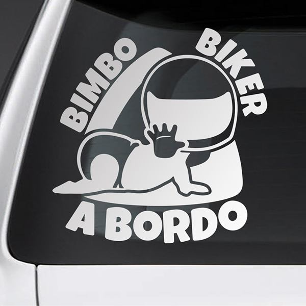 Car & Motorbike Stickers: Baby on board biker - Italian