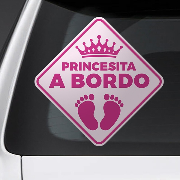 Car & Motorbike Stickers: Little princess on board - Spanish