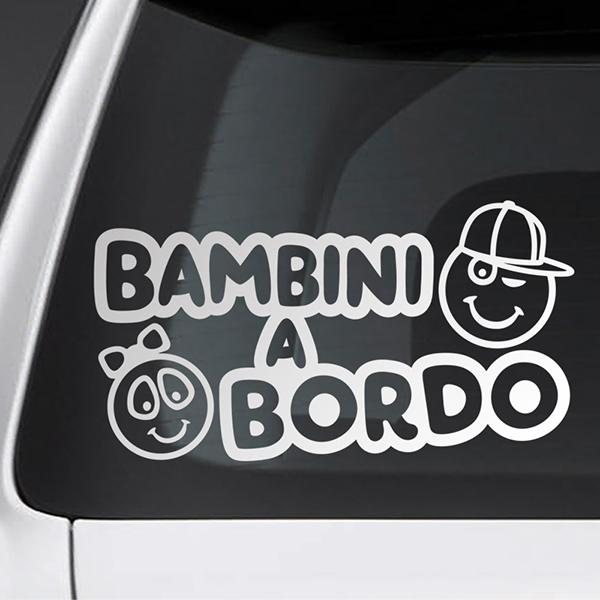 Car & Motorbike Stickers: Kids on board - Italian
