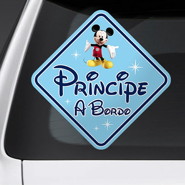 Car & Motorbike Stickers: Prince on Board Disney - Spanish