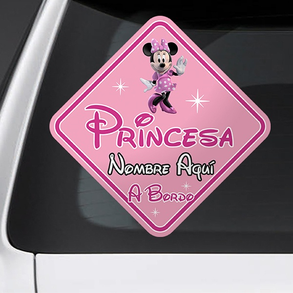 Car & Motorbike Stickers: Princess on board personalized - spanish